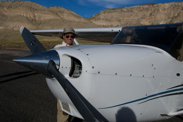 Airplane pre-flighting at Bar 10 Ranch in Whitman, AZ